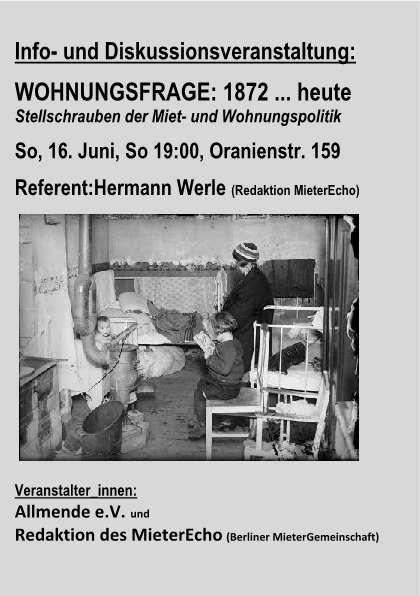 Berlin / Veranstaltung - Wohnugsfrage: 1872 bis heute